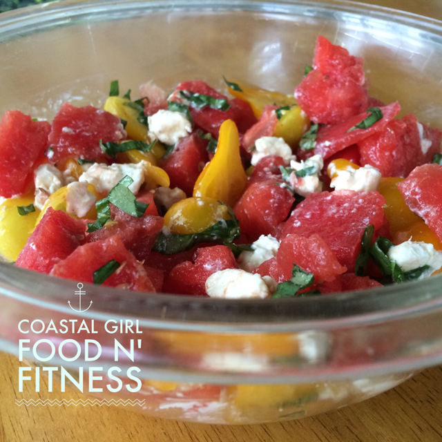 Delicious tomato, watermelon, goat cheese, basil salad