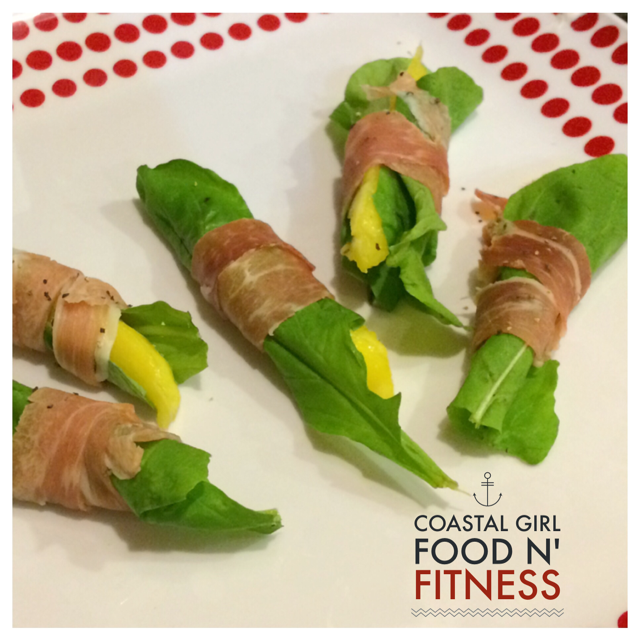 Mini mango prosciutto wraps: A healthy appetizer when you are following the 21 day fix or other clean eating plan.