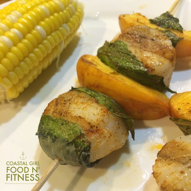 Basil, Scallop and Peach Kabobs - Healthy dinner perfect for company!
